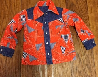 Vintage western paisley patchwork and denim wise collar shirt