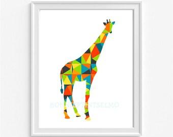 Colorful Giraffe Art Print, Nursery Giraffe,Geometric Giraffe Poster,Baby Room Decor,Abstract Giraffe Art, Kids Wall Decor, Animal Art Print