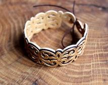 FREE SHIPPING Wooden bracelet Carved Openwork Birch Bark Handmade Russian Ornament