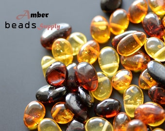 Multicolor Baltic amber beads. Loose amber beads for Jewelry Making. Drop shaped, small beads. 90 Pieces #2450/6