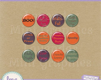 Halloween Flairs, Fall Buttons, Digital Scrapbook, Bottle Caps, Scrapbook Elements, Digital Flairs, Embellishments, Instant Download