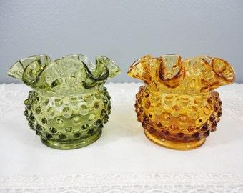 Vintage Fenton Hobnail / Double Crimp Small Vases - Amber