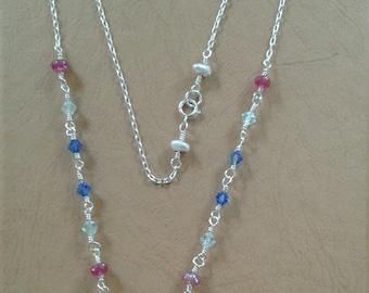 Blue Sterling Czech glass necklace
