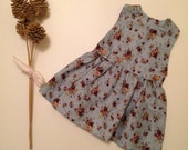 PINAFORE DRESS - Vintage roses Baby girls children's floral Dress pinafore dress