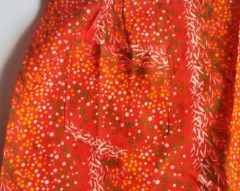 Vintage half apron, retro apron with pocket,red apron, kitchen apron