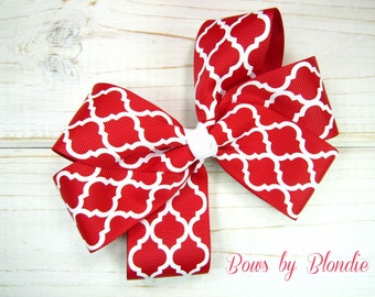 Christmas/Valentine's Day Basic large red quatrefoil triple loop bow with glitter ribbon French knot!