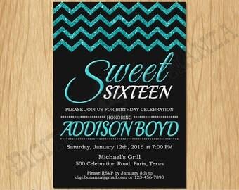 Sweet 16th Birthday Invitation Sixteen Black Turquoise Glitter Birthday Party Invite Teen Surprise Birthday Printable  F16-002ti