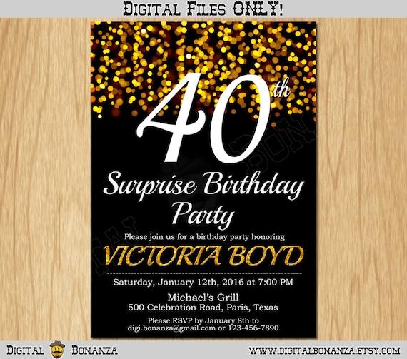 40th birthday invitation gold glitter party invitation elegant forty il570xn filmwisefo Images