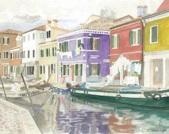 "8 x 10 Watercolor Print ""Burano"""