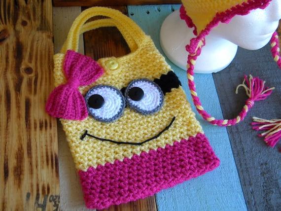 Crochet Minion Bag Pattern : Items similar to Minion Purse -Hand Crocheted on Etsy