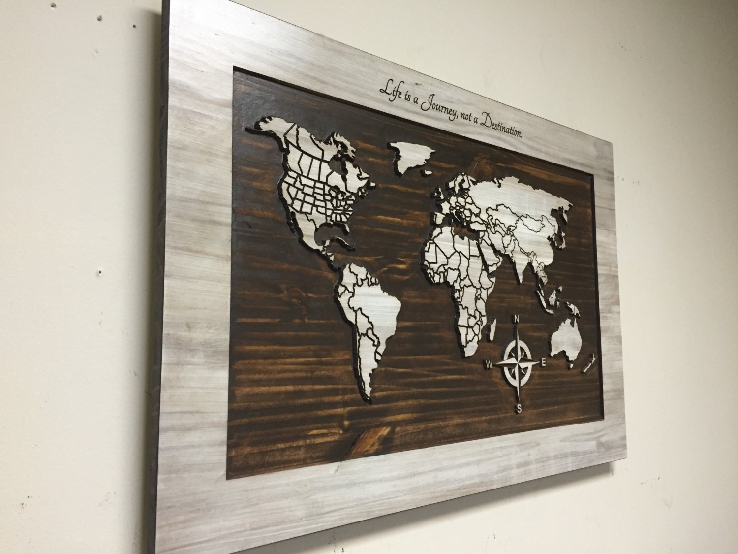 Custom Wood Wall Decor : Wood wall art carved world map home decor wooden life is a