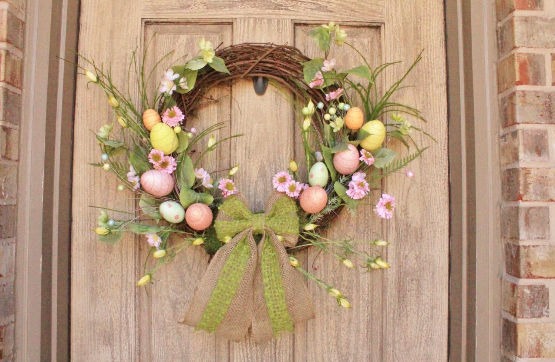 Easter Egg Grapevine Wreath Front Door Wreaths Spring Easter