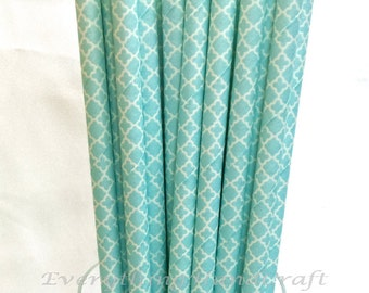 Baby Blue Lace Paper Drinking Straw / Food Safe Carnival Straws Vintage Retro Wedding / Birthday Party Baby Shower (25 pcs)