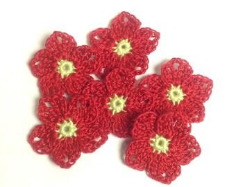 "Crochet Flowers 1-1/4""  - set of 6 (#06-15-4)"