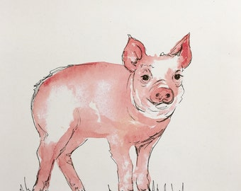 Little pig watercolor print 8x10in