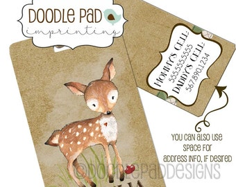 Woodland Deer Diaper Bag Tag, Kids Luggage Tag