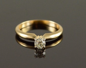 ON SALE 14K 0.27 Ct Diamond Solitaire Engagement Ring Size 5 Yellow Gold