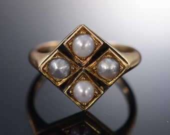 14K Vintage 3.5 mm Pearl Ring - Size 3.5 / Yellow Gold - EM425