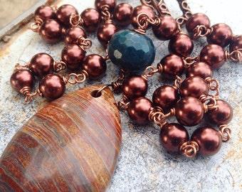 Handmade Jasper Pendant Beaded Necklace
