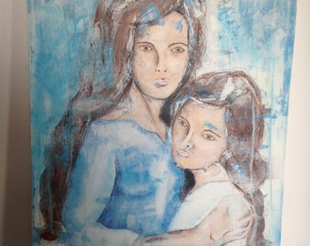 Sisters, acrylic painting, original painting, abstract art, family,