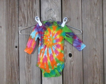 Tradtional Tie-Dye Pre-Made. Long Sleeve Onesie, Size 3-9 Months. Yellow, Orange, Pink, Lavender, Violate, Blue, and Green. Ready to Ship.