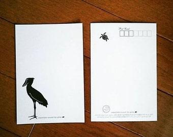 Shoebill Postcards 4 cards, bird cards, redlist cards,