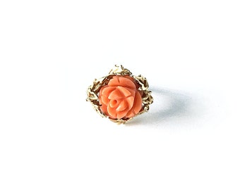 VINTAGE: Abigail - size 5, Coral & 14k Gold Ring