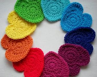 Rainbow bunting, love heart handmade crochet garland. *MADE TO ORDER*