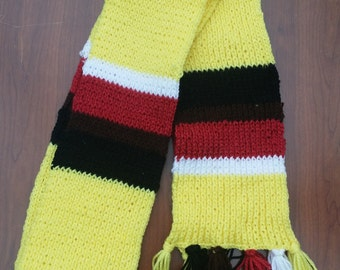 Yellow and Multicoloured Striped Scarf