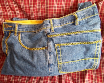 Upcycled Blue Jean Handbag with Hand Sewn Embroidery