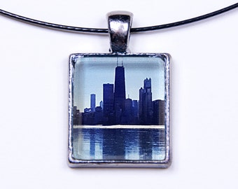 Chicago Skyline with Reflection onto Ice