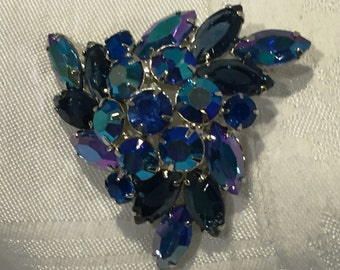 D&E Juliana style AB royal blue and silver tone brooch
