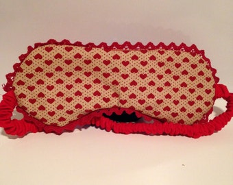 Red heart cotton eye mask with red lace trim