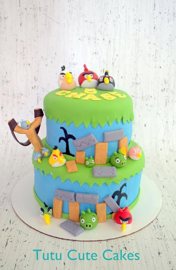 Angry bird cake toppers and decorating kits 100 edible for Angry birds cake decoration kit