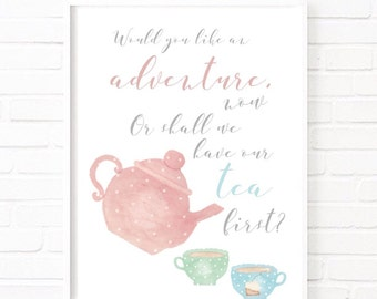 Would you like an adventure now or shall we have our tea first? Peter Pan teacup print