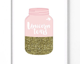 Jar of unicorn tears Glittet Modern girl nursery print