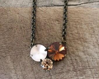 Swarovski Crystal Tri Stone Necklace Warm Neutrals