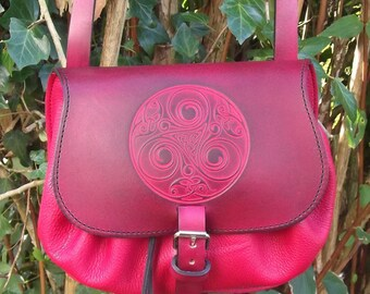 Leather crossbody bag, celtic design triskell 2, Red (16 colours available)