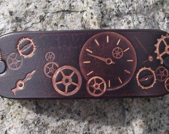 Leather hair  Barrette,steampunk design, brown