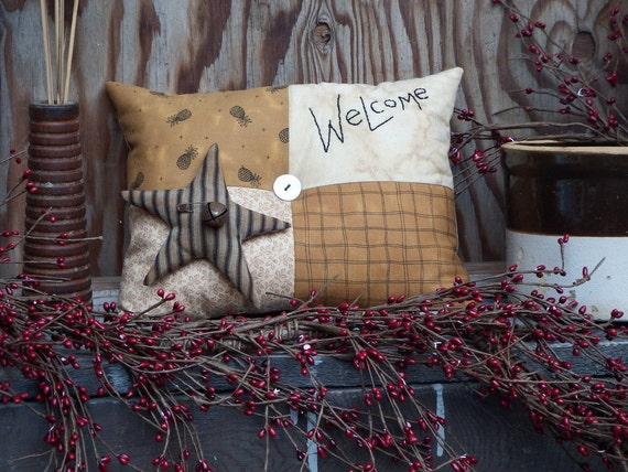 Primitive Welcome Pillow, Hand Embroidered Pillow, Bench Pillow, Country Accent Pillow, Brown and Beige, FAAP, TeamHAHA