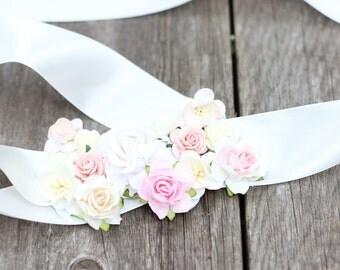 Wedding Sash Blush Ivory. Bridal Sash. Flower Wedding Belt. Ribbon Sash. Rustic Wedding. Floral Sash. Maternity Sash. Photo Prop.