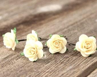 Flower Wedding Cream Flower Bobby Pins Ivory Hair Pins