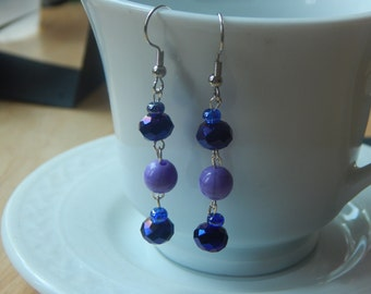 Light and Dark Purple Dangle Earrings