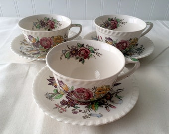 Johnson Brothers Garden Bouquet Cups and Saucers 6 Piece Set