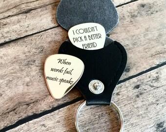 Custom Engraved Guitar Pick, Personalized Guitar Pick, Custom Guitar Pick, Music Gift with Keychain Holder
