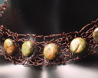 Wire crochet necklace,Semiprecious necklace and bracelet