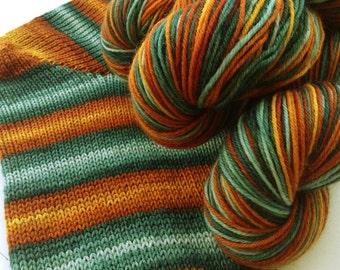 Hand dyed self striping merino sock yarn - Aging Copper