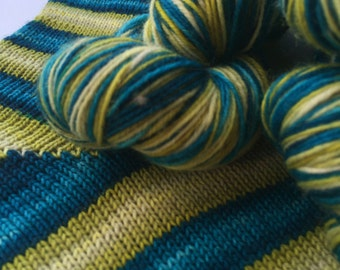 Hand dyed self striping sock yarn - Seaweed