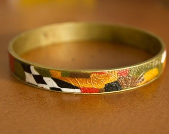 The 'Klimt' style bracelet, narrow - polymer clay