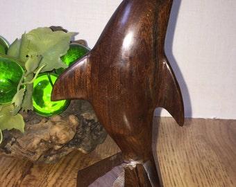Mid Century Wooden Dolphin Sculpture/ Vintage Hand Carved Dolphin / Vintage Dolphin Carving/ Mid Century Sculpture / Ironwood Sculpture